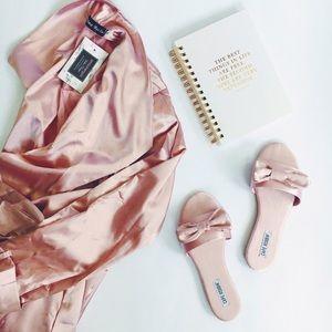 Shoes - 🆕Kara Blush Pink Satin Bow Slides Mules Flats